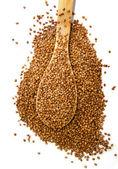 Buckwheat in wood spoon — Stock Photo