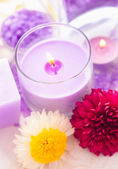 Sea salt and candle — Foto Stock