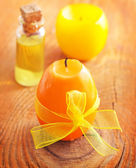 Candle and aroma oil — Stock Photo