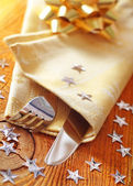 Place setting for christmas with star — Stock Photo
