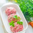Raw meat balls — Stock Photo