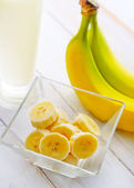 Banana and milk — Stock Photo
