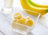Milk and banana — Stock Photo