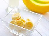 Fresh banana in the glass bowl — Stock Photo