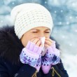 Stock Photo: Womwith cold outdoors