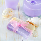 Soap and candle — 图库照片