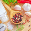 Aroma spice in the wooden spoon, spice and salt — Stock Photo