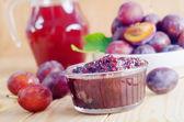 Plum with jam — Stock Photo