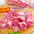 Stock Photo: Raw meat and knife on the wooden board