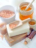 Aroma soap and salt — Stock Photo
