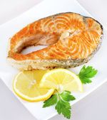 Salmon with lemon — Stock Photo