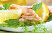 Salmon with lemon — Stock Photo