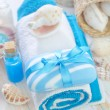 Soap and towels - Stock Photo