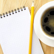 Coffee cup and note - Stock Photo