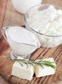 Cottage,butter and milk — Stock Photo