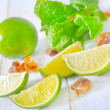 Stock Photo: Lime with mint and sugar