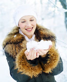 Woman and snow — Stock Photo
