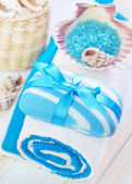 Soap and towels — Stock Photo