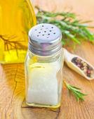 Salt, rosemary and pepper — Stock Photo