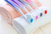 Diş fırçası ve makarna — Stok fotoğraf