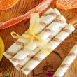 Wafer and christmas decoration — Stock Photo