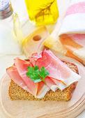Sandwich with ham — Stock Photo