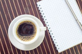 Coffee and note — Стоковое фото