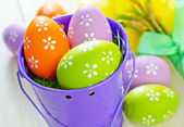 easter eggs in the bucket — Stock Photo