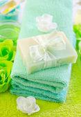 Sea salt and soap — Stock Photo