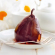 Stock Photo: Pear with chocolate, sweet food