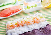 Fresh ingredients for sushi, rice and shrimps — Stock Photo