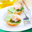 Avocado with shrimps — Stock Photo