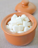Sugar in a clay pot — Stock Photo