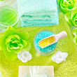 Sea salt and soap — Stock Photo
