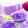 Violet sea salt for spa and candle — Stock Photo