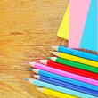 Stock Photo: Color shets and pencils