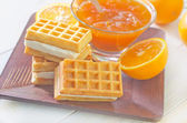 Waffle and orange jam — Stock Photo