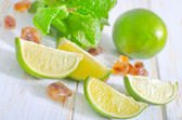Lime with mint and sugar — Stock Photo