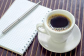 Coffee and note — Stockfoto