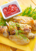 Hot Meat Dishes - Grilled Chicken Wings with Red Spicy Sauce — Stock Photo