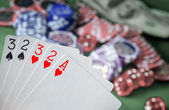Card for poker in the hand, chips and card for poker — Stock Photo