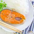 Stock Photo: Salmon with rice noodles