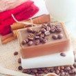Coffee soap, soap for spa, coffee and milk — Stock Photo