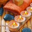 Soap,salt and candles — Stock Photo
