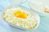 Cottage,eggs,milk and sour cream — Stock Photo
