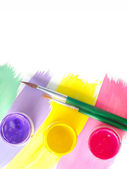Color paints and brushes isolation on white background — Stock Photo