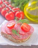 Sandwich on a napkin — Stock Photo
