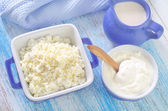 Cottage,milk and sour cream — Stock Photo