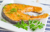 Fried salmon — Stock Photo