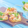 Sandwiches on a board — Stockfoto